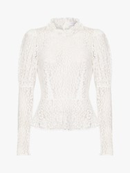 Ghost Lecice Sheer Lace Blouse Ivory