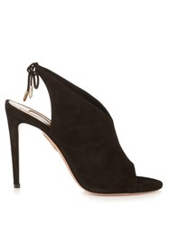 Aquazzura Ami Tie Back Suede Sandals Black