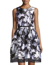 Donna Ricco Floral Print Sleeveless Dress Bleached White