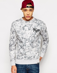 Fly 53 Sweatshirt With Clown Print Grey