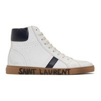 Saint Laurent White And Navy Joe Mid Top Sneakers
