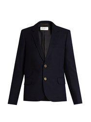 Saint Laurent Notch Lapel Wool Jacket Navy