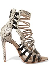 Schutz Snake Effect Leather And Nubuck Sandals Multi