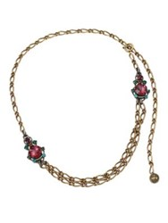 Lanvin Crystal Chain Necklace Brass Multi