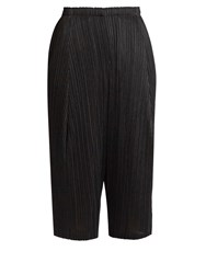 Issey Miyake Pleated Dropped Crotch Cropped Trousers Black