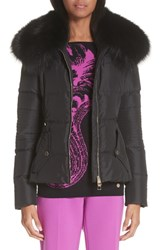 Versace Collection Down Puffer Jacket With Removable Genuine Fox Fur Collar Black