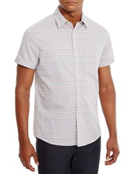 Kenneth Cole Short Sleeve Horizontal Striped Shirt Ghost Grey