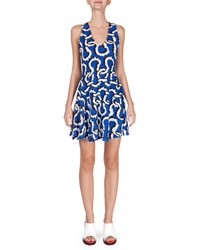 Kenzo Sleeveless Printed Fit And Flare Dress Size Large Blue Royal Blue