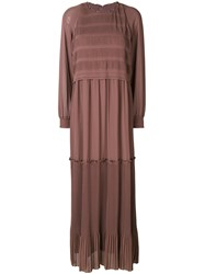 Steffen Schraut Maxi Peasant Dress Women Polyester 38 Brown