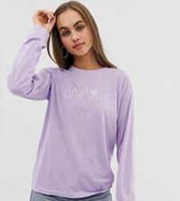Daisy Street Long Sleeve T Shirt With City Embroidery Purple