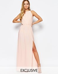 Love High Neck Cowl Back Draped Maxi Dress Nude