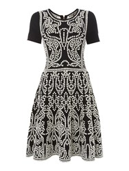 Biba Knit Fit And Flare Dress Multi Coloured