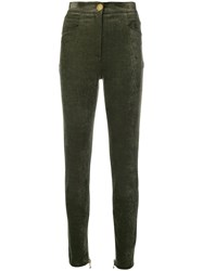 Balmain Skinny High Waisted Trousers Green