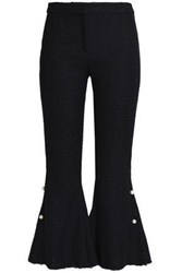Mother Of Pearl Faux Embellished Tweed Flared Pants Midnight Blue