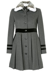 Loveless Pleated Coat Lambs Wool Grey