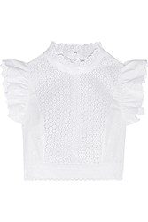 Philosophy Cropped Broderie Anglaise Cotton Blend Top White
