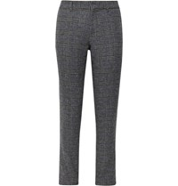 Club Monaco Grey Sutton Slim Fit Prince Of Wales Checked Wool Blend Trousers Gray