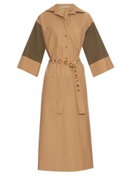 Mafalda Von Hessen Bi Colour Belted Kaftan Dress Khaki
