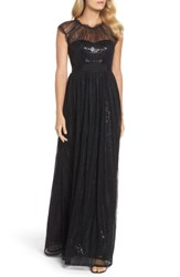 Adrianna Papell Women's Sequin Chantilly Lace Gown Black