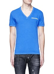Dsquared 'Arizona' Print V Neck T Shirt Blue
