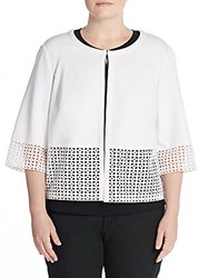 Lafayette 148 New York Plus Size Lace Trimmed Cardigan White