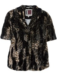 I'm Isola Marras Fur Effect Cropped Jacket Brown