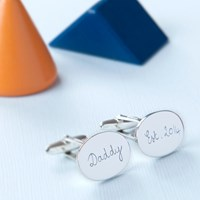Merci Maman Men's Personalised Sterling Silver Oval Cufflinks Silver