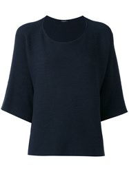Roberto Collina Three Quarter Sleeve Ribbed Jumper Women Cotton Linen Flax S Blue