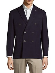 Michael Bastian Double Breasted Cotton Blend Jacket Navy