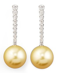 Golden South Sea Pearl And Diamond Bar Drop Earrings Eli Jewels Blue