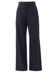 Martine Rose High Rise Wool Twill Flared Trousers Navy