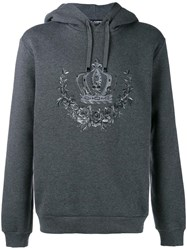 Dolce And Gabbana Embroidered Crown Hoodie