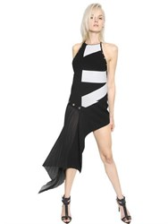 Anthony Vaccarello Asymmetrical Printed Double Crepe Dress