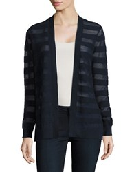 Michael Michael Kors Petite Striped Open Front Cardigan Navy