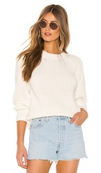 525 America Balloon Sleeve Sweater In White.