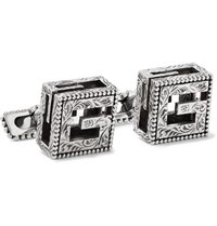 Gucci Engraved Burnished Sterling Silver Cufflinks Silver