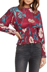 Willow And Clay Print Smocked Waist Blouse Magenta