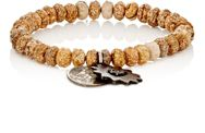 Miracle Icons Pietersite Rondelle And Charm Bracelet Brown