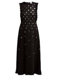 Redvalentino Sequin And Crystal Flower Crepe Dress Black
