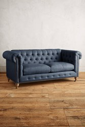 Anthropologie Linen Lyre Chesterfield Sofa Wilcox Legs Navy