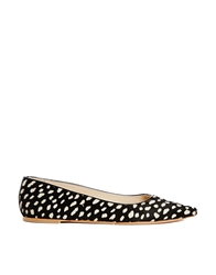 Whistles Brigette Spot Flat Pointed Shoes Black
