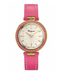 Salvatore Ferragamo 31Mm Intreccio Watch W Pink Topaz Bezel And Leather Strap Silver