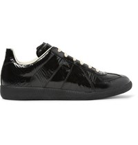 Maison Martin Margiela Replica Textured Patent Leather Sneakers Black