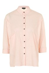 Topshop Oversized Double Pocket Neppy Shirt Pale Pink