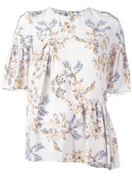 Stella Mccartney Floral Print Top Nude And Neutrals