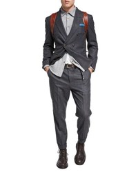 Brunello Cucinelli Flannel Wool Silk Cashmere Double Breasted Two Piece Suit Charcoal