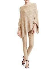Lauren Ralph Lauren Cable Knit Poncho Pale Wheat