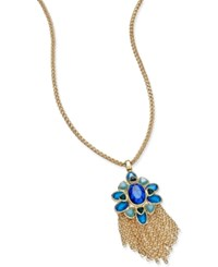 Charter Club Gold Tone Blue Crystal Fringe Pendant Necklace Only At Macy's