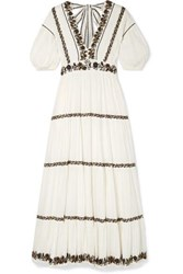 Ulla Johnson Alma Sequined Embroidered Crinkled Cotton Voile Maxi Dress White