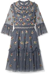 Needle And Thread Magdalena Embellished Embroidered Tulle Dress Navy
